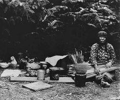 Chehalis woman with basket weaving supplies near Grays Harbor, Washington - 1906