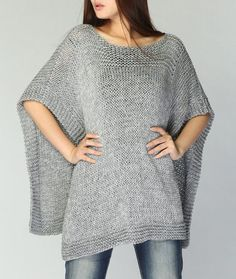 Hand knitted Poncho/ capelet grey eco cotton poncho by MaxMelody