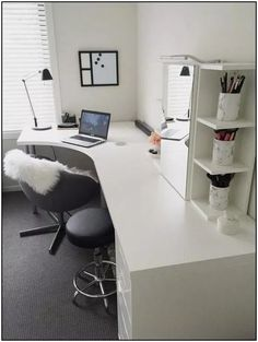 20 Home Office Ideas (Modern Style and Comfortable) - Pandriva : So make sure you design your home office exactly how you want from the perfect colors, . See more ideas about Desk, Home office decor and Home Office Ideas. Home Office Space, Home Office Design, Home Office Decor, Office Ideas, Office Designs, Office Spaces, White Desk Home Office, Bedroom With Office, Men Office