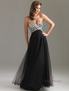 A-line Sweetheart Floor-length Tulle Prom Dress with Rhinestone