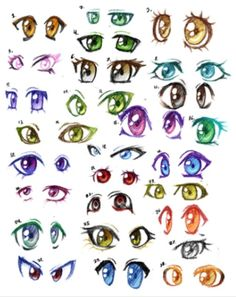 An extremely beautifully laid out set of colorful and fun eyes. These eyes can spark a sense of creativity for fellow manga artists wanting to find their zing when it comes to their creations.
