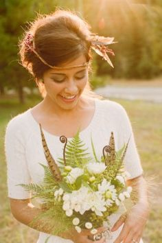 Bohemian Chic Bride~ love the ferns in the bouquet