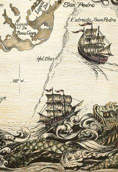 Je Ne Sais Quoi Old Maps, Antique Maps, Vintage Maps, Sea Serpent, Treasure Maps, Pirate Treasure, Pirate Maps, Map Art, Map Globe