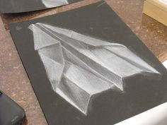 Great way to teach value with white chalk and dark paper.  White Charcoal Plane View 2 by ~Noorami on deviantART