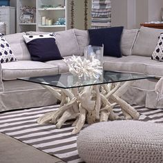 Image 5 of 16 from gallery of Fantastic Driftwood Coffee Table Base Ideas. Small spaces living room design with square glass top crate and barrel driftwood coffee table plus gray microfiber u sofa and navy themed carpet tiles ideas Nautical Coffee Table, Driftwood Coffee Table, Driftwood Furniture, Coffee Table Base, Painted Driftwood, Coffee Table Design, Driftwood Crafts, Coffee Cups, Small Scale Furniture