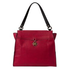 There's nothing like a beautiful red to make your heart beat a little faster! Prima Dabney features lightly-textured faux leather in rich tomato, complemented by black edges and a red band accent with dangling two-tone metal clover logo plate. Clover Logo, Red Band, In A Heartbeat, Shoulder Bag, Handbags, Purses, Leather, Heart Beat, Accessories