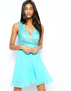 Little Mistress Lace Skater Dress with Plunge Neck