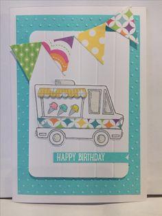 Made by AliF. Tasty trucks stampin' up. Avery Elle paper pad. Cased from paper, scissors & superheros Betsy Veldman.