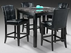 looking for a casual high top tablechairs these modern black leather chairs are