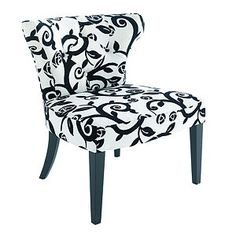 black and white chair- need this to go with my red couch.. or maybe zebra stiped?