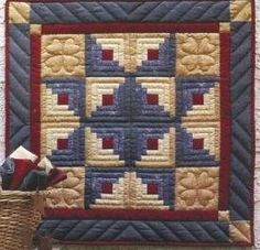 Log Cabin Patterns | Star Log Cabin Quilt Pattern great idea for 4th of july