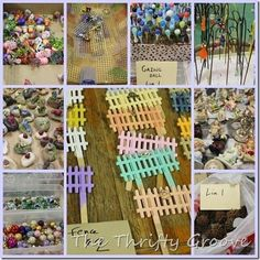 Fairy Garden materials. I like the marble on a golf tee as a gazing ball.