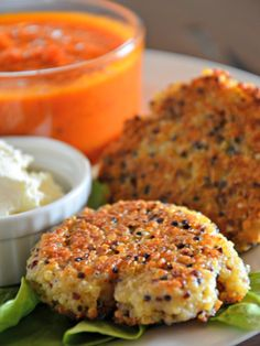 Parmesan Quinoa Pancakes with Whipped Feta Spread & Marinara Dipping Sauce