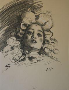 "Teresa Oaxaca ""Clown Aristocrat"", 18x26"", charcoal and white chalk on paper"