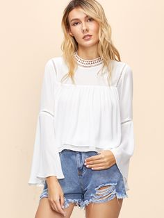 Shop White Bell Sleeve Layered Top With Crochet Detail online. SheIn offers White Bell Sleeve Layered Top With Crochet Detail & more to fit your fashionable needs.