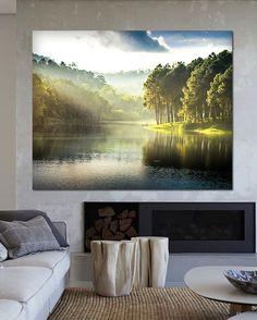 dodatki - plakaty, ilustracje, obrazy - malarstwo-Obraz na płótnie Jezioro 100 x 80