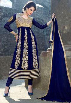 #Blue Georgette #Designer-Churidar-Suit For #Eid