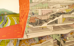 Lewis Tsurumaki Lewis - AE section Zaha Hadid Architecture, Famous Architecture, Architecture Graphics, Chinese Architecture, Architecture Drawings, Architecture Details, Photoshop, Ltl Architects, Drawing Block