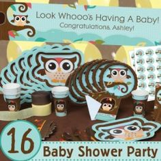 Love This Owl Baby Shower Party Pack for a Baby Boy!