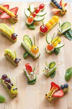 Vegetable Animals, Vegetable Snacks, Fruit Animals, Vegetable Recipes, Bug Snacks, Healthy Snacks, Snacks Kids, Healthy Kids, Eating Healthy