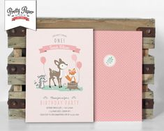 Girl Woodland Birthday Party Invitation // by ThePrettyPaperStudio