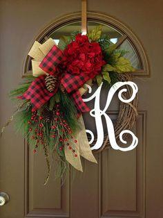 Christmas Hydrangea Wreath for Front Door with Monogram Front