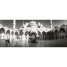Courtyard of Blue Mosque in Istanbul Turkey Canvas Art - Panoramic Images (30 x 13)