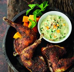 Try this exciting grilled spiced pheasant recipe, with mango and mint, as a stylish twist on an old favourite Wild Game Recipes, Meat Recipes, Vegetarian Recipes, Cooking Recipes, Quail Recipes, Meat Meals, Drink Recipes, Partridge Recipe, Grouse Recipes