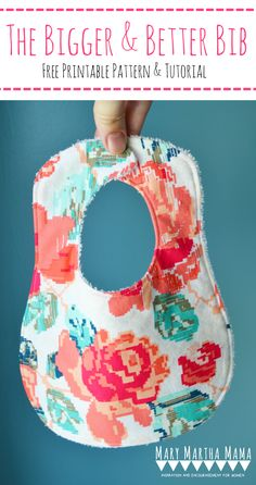 Baby bib tutorial with free printable baby bib pattern mary martha 15 easy diy sewing projects for beginners personalized baby giftsbaby negle Choice Image