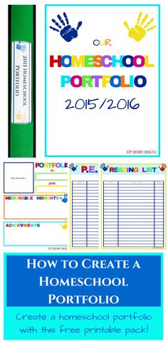 How to create a homeschool portfolio plus a free printable portfolio pack. Physical activity tracker, reading record, and more!