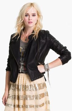 Free People 'Sunburst' Faux Leather Moto Jacket   Nordstrom