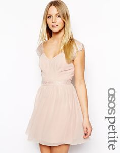 ASOS PETITE Exclusive Eyelash Lace Skater Dress