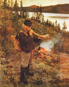 Herd-Boy at Paanajärvi  1892 | Oil on canvas | 840 x 680 mm  Private collection  Gallen-Kallela, Akseli | 1865-1931