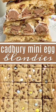 Cadbury Mini Egg Blondies Blondie Recipes Cadbury Mini Eggs Cadbury Mini Egg Blondies Are Soft, Chewy, Buttery, And Loaded With Everyone's Favorite Cadbury Egg Chocolate Candies A Perfect Easter Dessert Recipe. Mini Egg Recipes, Best Dessert Recipes, Easter Recipes, Baking Recipes, Cadbury Recipes, Tuna Recipes, Bar Recipes, Recipies, No Egg Desserts