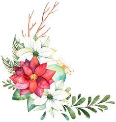 poinsettia bouquet corner Christmas Sheets, Christmas Cards, Painting Wallpaper, Diy Painting, Molduras Vintage, Baby Food Jar Crafts, Xmas Theme, Flower Clipart, Botanical Prints