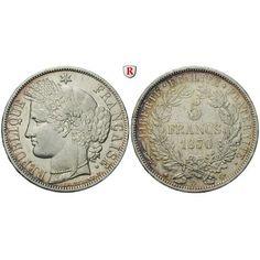 Frankreich, Regierung der Nationalen Verteidigung, 5 Francs 1870, ss+: Regierung der Nationalen Verteidigung 1870-1871. 5 Francs… #coins
