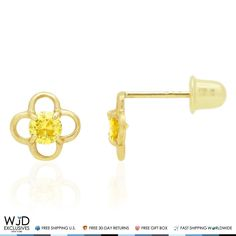 These cute quatrefoil shaped kids earrings feature a round cut citrine in the center, the studs are finished in 14k solid yellow gold and secured with baby screwback closure for perfect fit. Being a November birthstone citrine makes a great gift for Scorpio and Sagittarius zodiac signs. Product ...