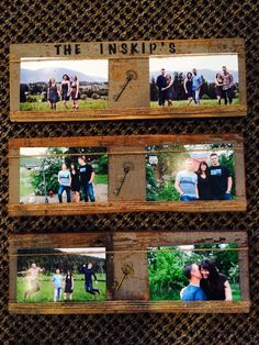 Rustic photo picture frames from barn wood or old fence boards. Add Keys and your name...cute!