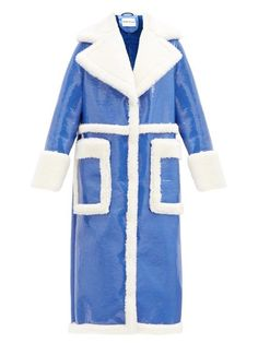 Stand Studio Aubrey Faux-Shearling and Patent-Leather Coat Wardrobe Fails, Tailored Coat, Coat Stands, Belted Coat, Fall Trends, White Tees, Who What Wear, Winter Coat, Patent Leather