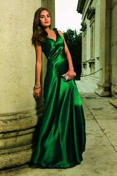 Green satin Style 123 evening gown (BurdaStyle)