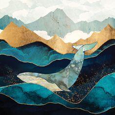 blue whale art - Blue Whale by SpaceFrog Designs metal posters Whale Canvas, Whale Art, Blue Whale Drawing, Blue Canvas, Art Encadrée, Framed Art Prints, Canvas Prints, Wall Prints, Whale Painting