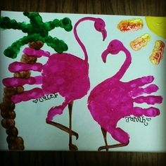 Handprint and finger painting flamingo Daycare Crafts, Baby Crafts, Toddler Crafts, Crafts To Do, Crafts For Kids, Arts And Crafts, Summer Crafts, Holiday Crafts, Painting For Kids