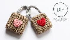 Méli-mélo d'idées en laine et au crochet. Crochet Gratis, Crochet Amigurumi, Crochet Yarn, Crochet Toys, Free Crochet, Yarn Bombing, Valentine Crafts, Valentines, Love Lock