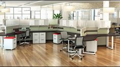 Modern Cubicles with Segmented Tile panels with acoustical sound buffering from Boca Office Furniture. Commercial Interior Design, Interior Design Companies, Commercial Interiors, Office Cube, Open Office, Modular Office, Cubicle Design, Cubicle Ideas, Office Workstations