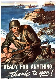 Ready for Anything Thanks to You. WWII War Propaganda Art Print Poster. USA - WWII Artwork & Posters