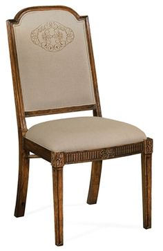 Jonathan Charles Upholstered dining Side Chair with gold embroidery Dining Chairs For Sale, Antique Dining Chairs, Solid Wood Dining Chairs, Upholstered Dining Chairs, Dining Chair Set, Dining Room Chairs, Dining Room Furniture, Side Chairs, Luxury Bedroom Furniture