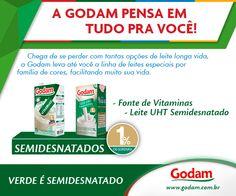 EMBALAGEM VERDE É LEITE SEMIDESNATADO! Acesse nosso site: www.godam.com.br