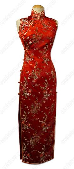 Mandarin collar.  Chinese treated buttons closure.  Sleeveless.  2 side slits.  Fully lined.  Dragon and Phoenix patterns.  Ankle length.    Fabric: Silk brocade.  Washing Instruction: Dry clean only.  Color available:Red.