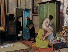Eduardo Zamacois y Zabala, La visita inoportuna, 1868, óleo sobre tabla, 23 x 29,5 cm, Colección del Museo de Bilbao.