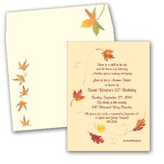 Fall Leaves  - This creme card stock fall invitation is decorated with fall leaves blown about in a swirling gust of wind. It is a great choice for fall bridal invitations or thanksgiving invitations! Includes the coordinating envelope show.